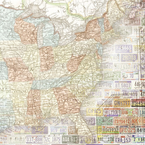 Paper House Productions - Road Trip Collection - 12 x 12 Paper - United States Map - East
