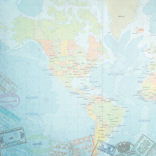 Paper House Productions - World Travel Collection - 12 x 12 Paper - W. Hemisphere