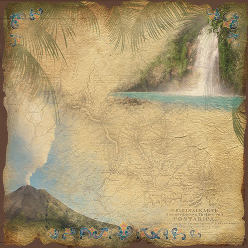 Paper House Productions - Costa Rica Collection - 12 x 12 Paper - Costa Rica Map