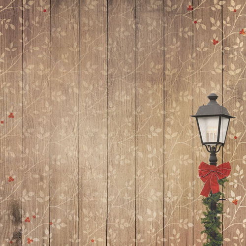 Paper House Productions - Winter Wonderland Collection - 12 x 12 Paper - Winter Lamp Post