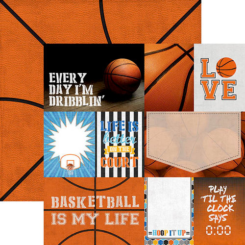 Paper House Productions - All Star Collection - Basketball - 12 x 12 Double Sided Paper - Basketball Tags