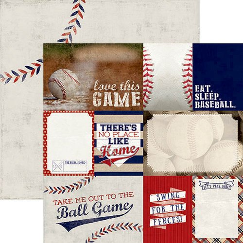 Paper House Productions - All Star Collection - Baseball - 12 x 12 Double Sided Paper - Baseball Tags
