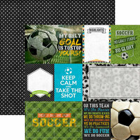 Paper House Productions - All Star Collection - Soccer - 12 x 12 Double Sided Paper - Soccer Tags
