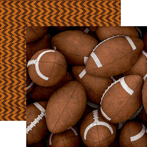 Paper House Productions - All Star Collection - Football - 12 x 12 Double Sided Paper - Footballs