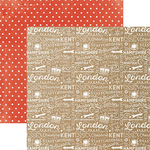 Paper House Productions - Discover Collection - England - 12 x 12 Double Sided Paper - English Words