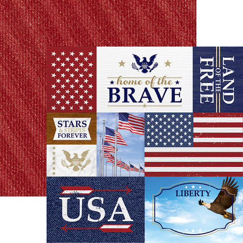 Paper House Productions - Let Freedom Ring Collection - 12 x 12 Double Sided Paper - Home of Brave Tags