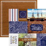 Paper House Productions - Let Freedom Ring Collection - 12 x 12 Double Sided Paper - Boston Tags