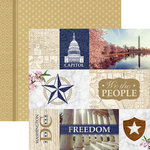 Paper House Productions - Let Freedom Ring Collection - 12 x 12 Double Sided Paper - Washington DC Tags