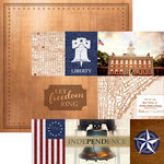 Paper House Productions - Let Freedom Ring Collection - 12 x 12 Double Sided Paper - Philadelphia Tags