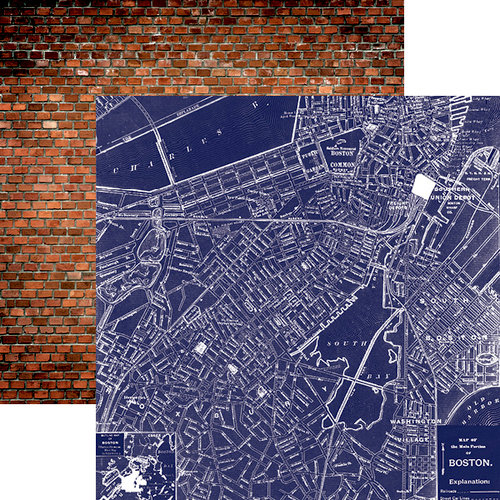 Paper House Productions - Let Freedom Ring Collection - 12 x 12 Double Sided Paper - Boston Map