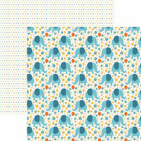 Paper House Productions - Hello Baby Boy Collection - 12 x 12 Double Sided Paper - Blue Elephants