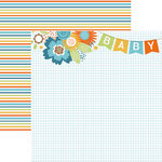 Paper House Productions - Hello Baby Boy Collection - 12 x 12 Double Sided Paper - Baby Boy Banner