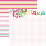 Paper House Productions - Hello Baby Girl Collection - 12 x 12 Double Sided Paper - Baby Girl Banner