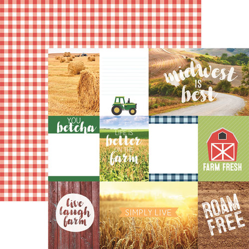 Paper House Productions - Discover USA Collection - 12 x 12 Double Sided Paper - Midwest Tags