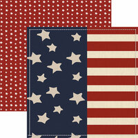 Paper House Productions - Home Front Girl Collection - 12 x 12 Double Sided Paper - Wave the Flag