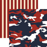 Paper House Productions - Home Front Girl Collection - 12 x 12 Double Sided Paper - Freedom Camo