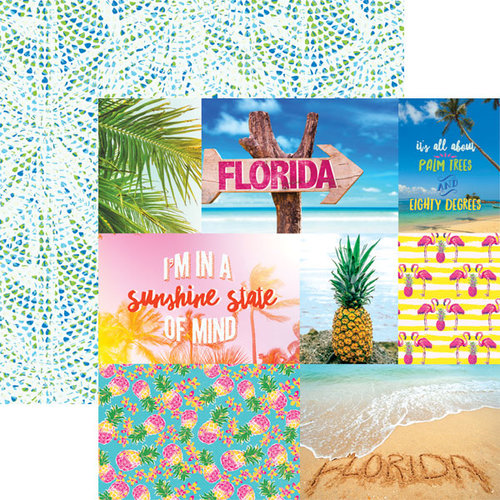 Paper House Productions - Paradise Found Collection - 12 x 12 Double Sided Paper - Florida Tags