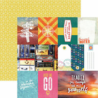 Paper House Productions - Explore Your World Collection - 12 x 12 Double Sided Paper - Explore Your World Tags