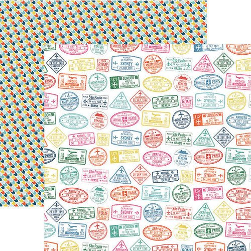 Paper House Productions - Explore Your World Collection - 12 x 12 Double Sided Paper - Passport Stamps