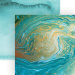 Paper House Productions - 12 x 12 Double Sided Paper - Teal Marble