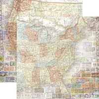 Paper House Productions - 12 x 12 Double Sided Paper - United States Map