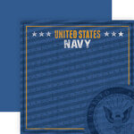 Paper House Productions - 12 x 12 Double Sided Paper - Navy Emblem