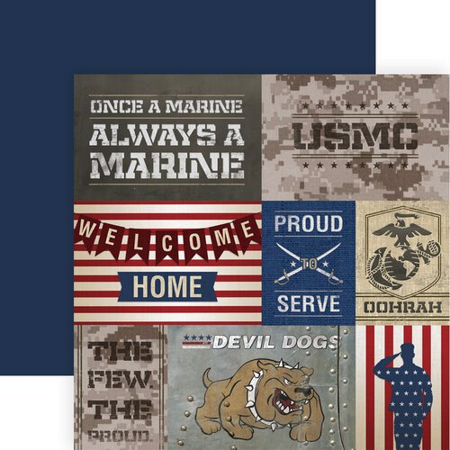 Paper House Productions - 12 x 12 Double Sided Paper - Marines Tags