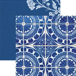 Paper House Productions - Color Ways Collection - Sapphire - 12 x 12 Double Sided Paper - Spanish Tiles