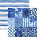 Paper House Productions - Color Ways Collection - Sapphire - 12 x 12 Double Sided Paper - Mini Trim Cards