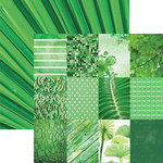 Paper House Productions - Color Ways Collection - Emerald - 12 x 12 Double Sided Paper - Mini Trim Cards