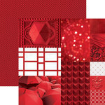 Paper House Productions - Color Ways Collection - Rouge - 12 x 12 Double Sided Paper - Trim Cards