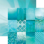 Paper House Productions - Color Ways Collection - Atlantis - 12 x 12 Double Sided Paper - Mini Trim Cards