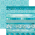 Paper House Productions - Color Ways Collection - Atlantis - 12 x 12 Double Sided Paper - Edgings