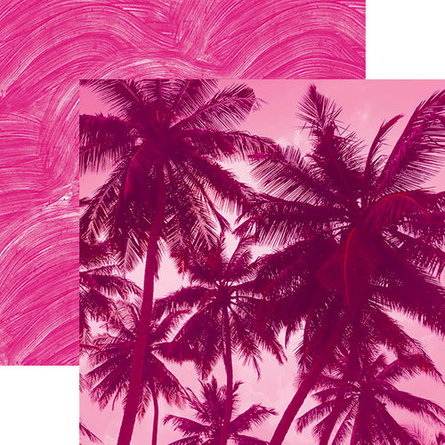 Paper House Productions - Color Ways Collection - Flamingo - 12 x 12 Double Sided Paper - Palm Trees