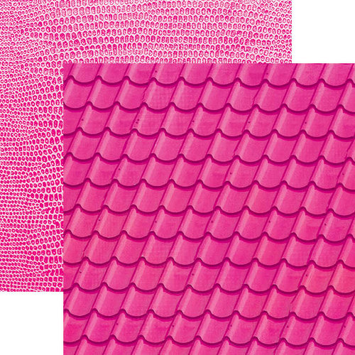 Paper House Productions - Color Ways Collection - Flamingo - 12 x 12 Double Sided Paper - Tiles
