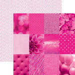 Paper House Productions - Color Ways Collection - Flamingo - 12 x 12 Double Sided Paper - Mini Trim Cards