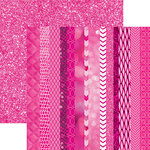 Paper House Productions - Color Ways Collection - Flamingo - 12 x 12 Double Sided Paper - Edgings
