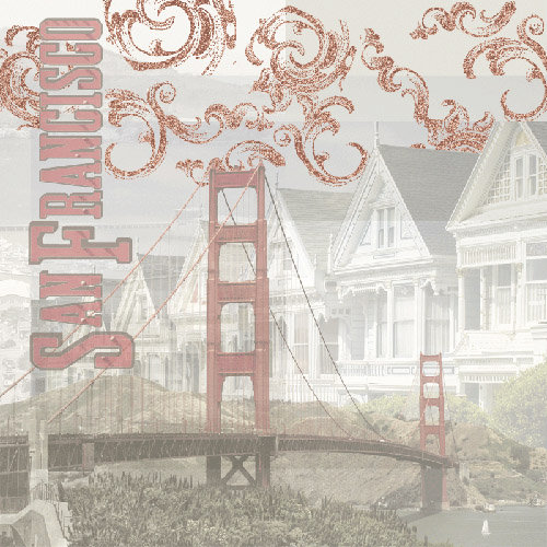 Paper House Productions - San Francisco Collection - 12 x 12 Paper with Glitter Accents - San Francisco