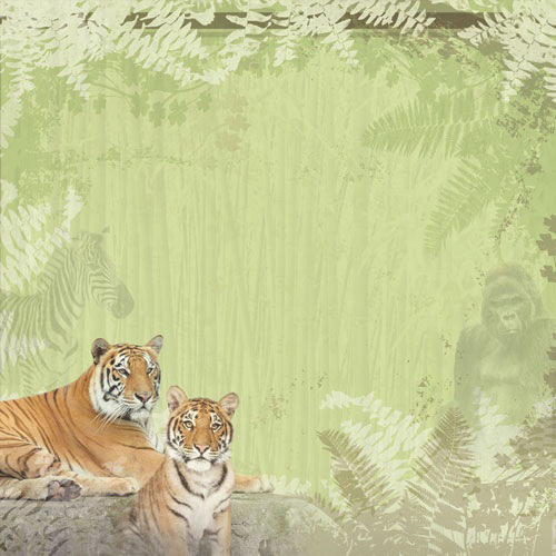 Paper House Productions - Zoo Collection - 12 x 12 Paper with Glitter Accents - At the Zoo