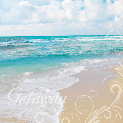 Paper House Productions - Fun Beach Collection - 12 x 12 Paper with Glitter Accents - Getaway