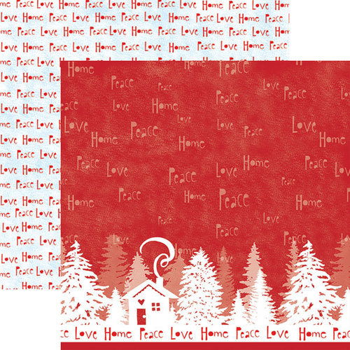 Paper House Productions - Home for Christmas Collection - 12 x 12 Double Sided Paper with Glitter Accents - Peace Love Home