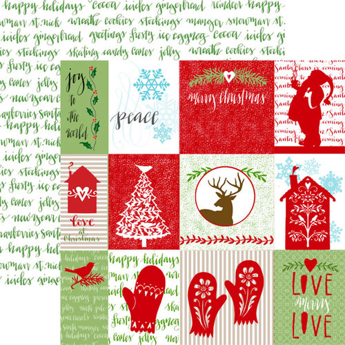Paper House Productions - Home for Christmas Collection - 12 x 12 Double Sided Paper with Glitter Accents - Tags