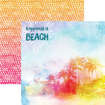 Paper House Productions - Sun Drenched Collection - 12 x 12 Double Sided Paper with Foil Accents - A Day at the Beach