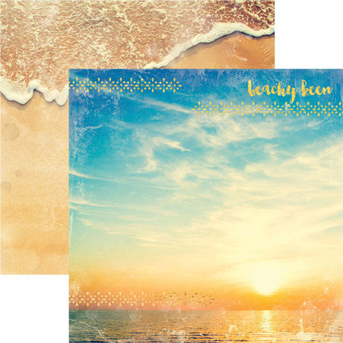 Paper House Productions - Sun Drenched Collection - 12 x 12 Double Sided Paper with Foil Accents - Beachy Keen