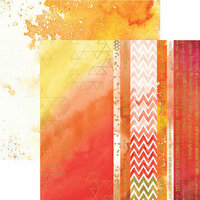 Paper House Productions - Color Washed Collection - 12 x 12 Double Sided Paper with Foil Accents - Live Bright