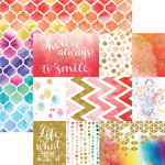 Paper House Productions - Color Washed Collection - 12 x 12 Double Sided Paper with Foil Accents - A Reason to Smile