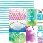 Paper House Productions - Color Washed Collection - 12 x 12 Double Sided Paper with Foil Accents - Makes You Happy