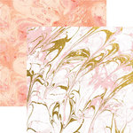 Paper House Productions - Marbleous Collection - 12 x 12 Double Sided Paper with Foil Accents - Pink Marble