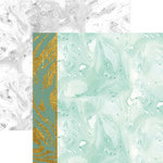 Paper House Productions - Marbleous Collection - 12 x 12 Double Sided Paper with Foil Accents - Green Marble