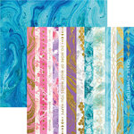 Paper House Productions - Marbleous Collection - 12 x 12 Double Sided Paper with Foil Accents - Marbleous Borders